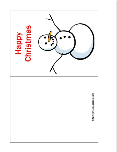 free greeting card printable templates free printable happy card with snowman