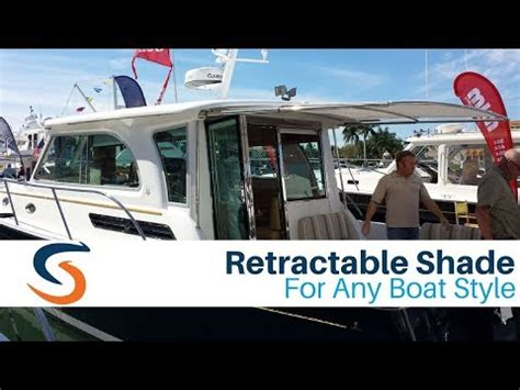 retractable boat awning sureshade retractable sunshade for any boat brand youtube