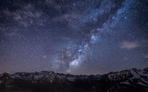 starry sky starry sky above the mountains wallpaper 1034401