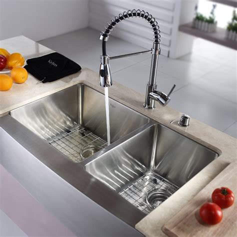 kraus sink kraus khf20333kpf1612ksd30ch 33 inch farmhouse bowl stainless steel sink with pull out