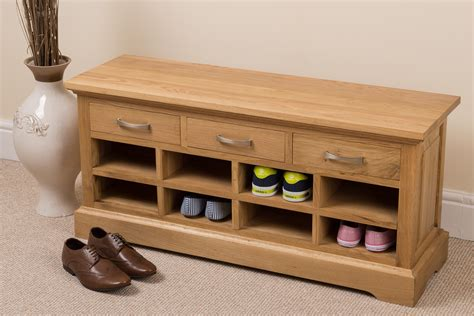 aspen 100 solid oak wood 3 drawer shoe bench rack hallway
