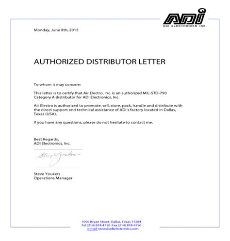 authorization letter distributor distribution
