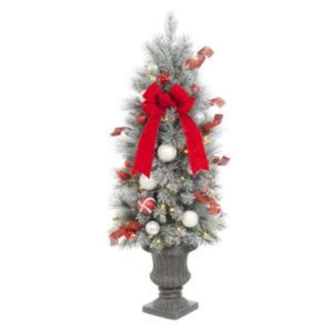 battery operated 4 foot christmas tree set home accents 4 ft pre lit flocked porch tree with 50 clear battery operated led lights