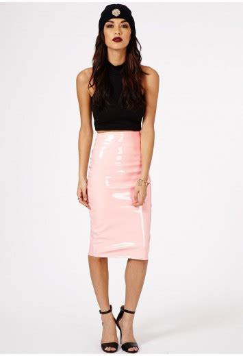 mircia pvc midi skirt skirt midi skirts missguided