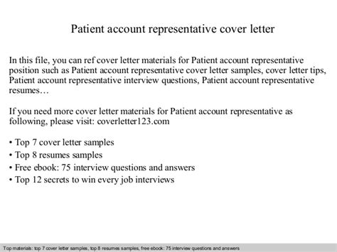 Patient Representative Cover Letter Exles Patient Account Representative Cover Letter