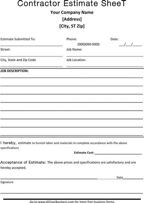 contractor blank estimate sheet template