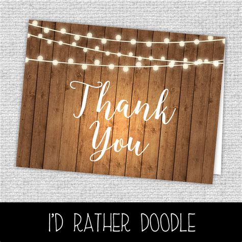 Rustic Thank You Card Template by Rustic Thank You Cards Lights And Wood Thank You Cards