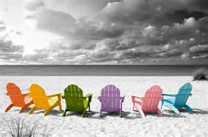 Kohls Beach Chairs Color On Black And White Canvas Prints