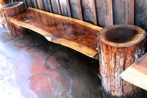 homemade log bench redwood burl by artisan burlwood