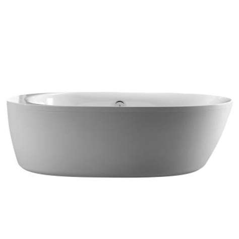 home depot freestanding bathtubs schon logan 5 9 ft center drain freestanding bathtub in glossy white