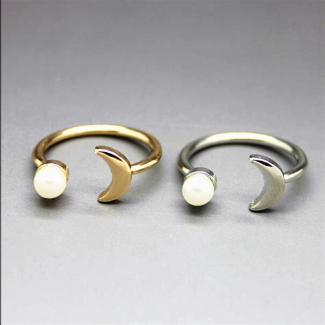 free shipping 18k gold plating pearl moon finger rings