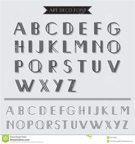 typography type deco type font stock vector image of illustration