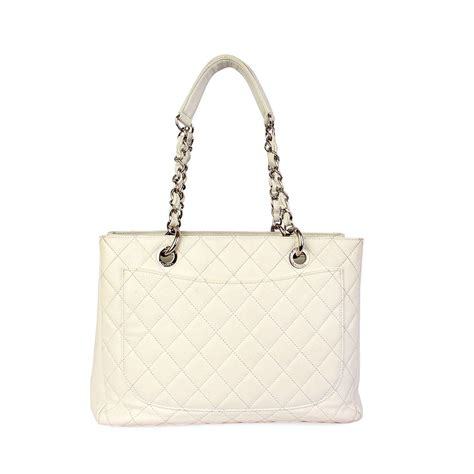 Quilted Chanel by Chanel Quilted Leather Grand Shopping Tote White Luxity
