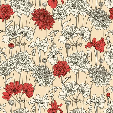 hand drawn flower pattern hand drawn flower pattern art vector free vector in adobe
