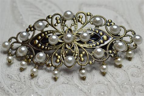 vintage bridal hair barrette hair barrette vintage style filigree pearl hair