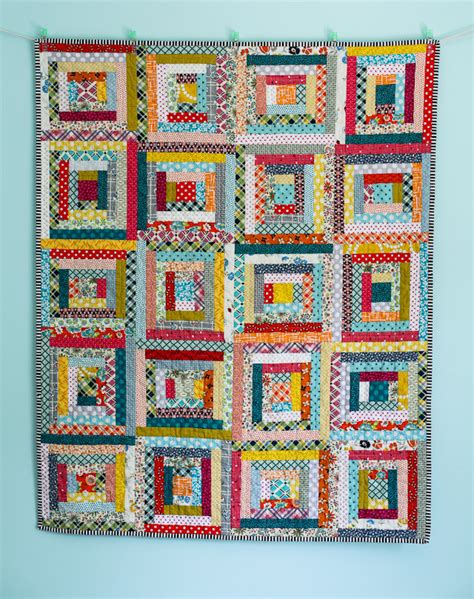 The Log Cabin Quilt by Blue Is Bleu Scrappy Log Cabin Baby Quilt