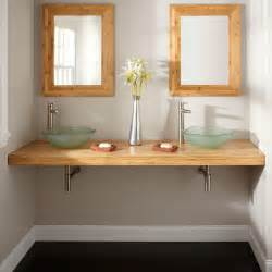 Double Bowl Vanity Tops 73 Quot Bamboo Wall Mount Vanity Top For Vessel Sinks