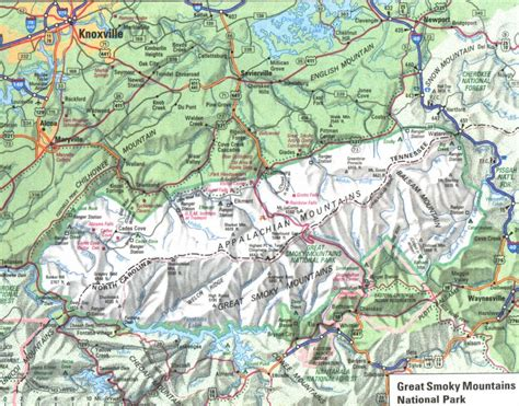 great smoky mountains national park map smokies road map