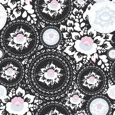 Kaligrafi Shabby Chic Pink vintage shabby chic seamless ornament pattern with pink and white flowers and leaves on black