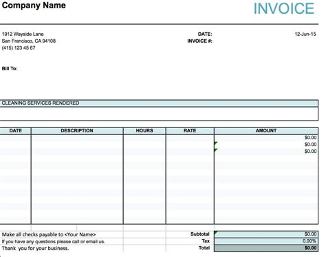 Invoice Template Excel Free by Cleaning Services Invoice Pdf Rabitah Net