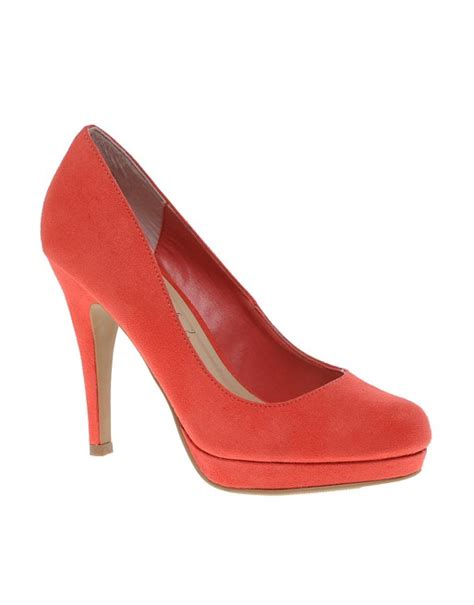 new look new look regal coral platform heeled court shoes