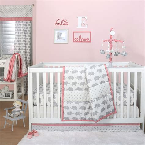 grey nursery bedding set grey elephant and triangle dot 4 baby crib bedding set with coral pink ebay