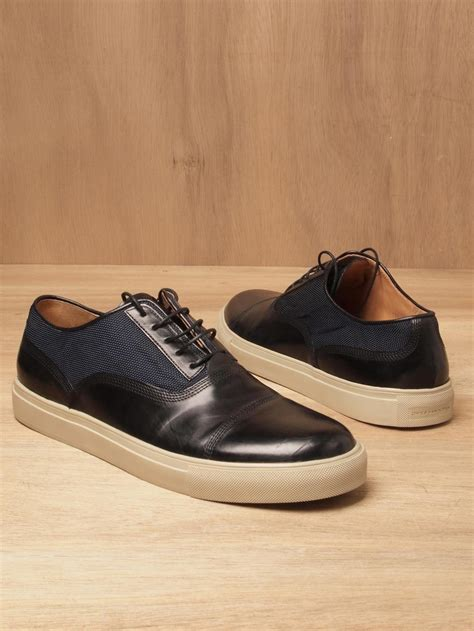 lyst dries noten dries noten mens leather and textile toe cap sneakers in black for