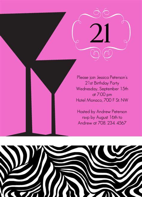 21st Birthday Card Printable 21st Birthday Invitations Pink Martinis Zebra Print 21st