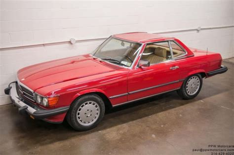 1987 mercedes benz sl class 560sl 77 011 miles signal red 2 owner serviced for sale