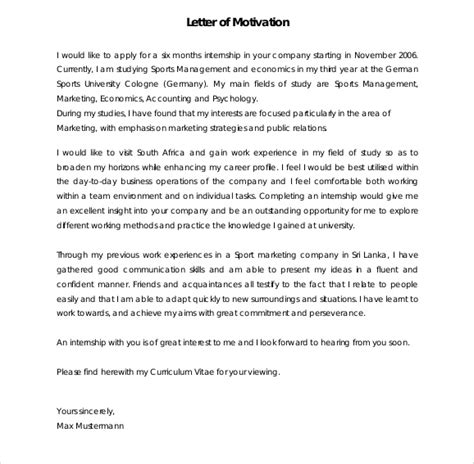Motivation Letter For It Exles Sle Motivation Letter Template 6 Documents In Pdf Word