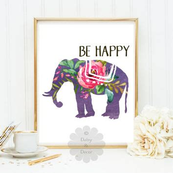 Livaza Wall Decor Be Happy best happy elephant print products on wanelo