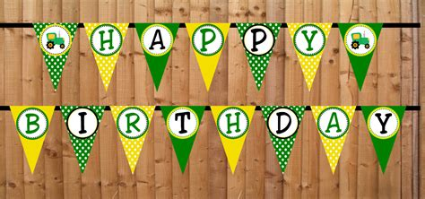 john deere printable birthday banner tractor time happy birthday banner instant download