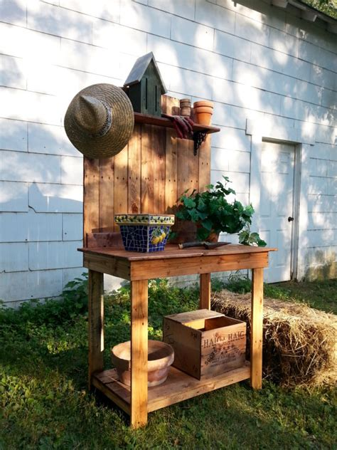 wood pallet potting bench pallet wood potting bench recycled upcycled plant stand