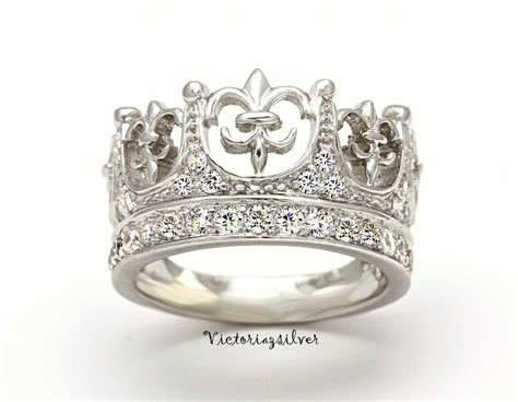 sterling silver crown ring with stonessilver tiarasilver