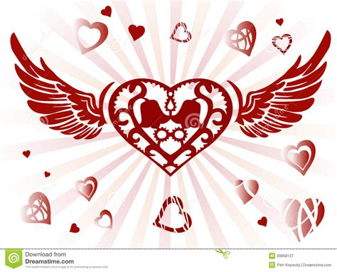 Decorative Hearts by Decorative Wings And Stock Illustration Image