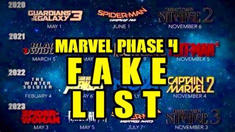 film marvel phase 4 marvel phase 4 movie list fake phase 4 movies not