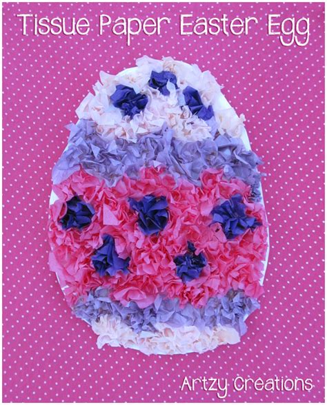 Paper Easter Egg Crafts - tissue paper easter egg artzycreations