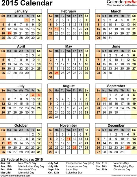 2015 calendar template with holidays 2015 calendar with federal holidays excel pdf word templates