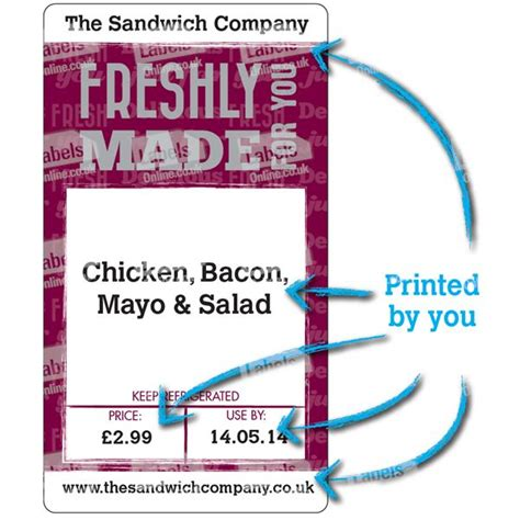 Sandwich Label Template