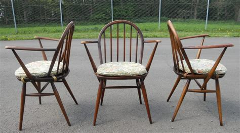 set of three elm kitchen armchairs by ercol