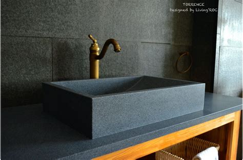 "24"" Gray Granite Stone Bathroom Sink TORRENCE"