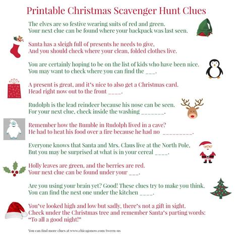 santa riddles printable scavenger hunt clues for present finding it s a merry