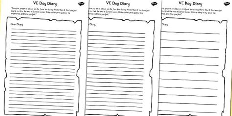 ve day diary writing template ve day diary writing