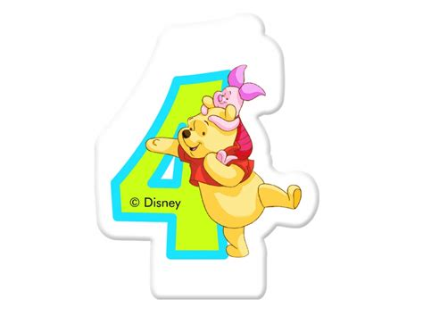 candela di compleanno candela di compleanno 4 winnie the pooh e gli amici disney