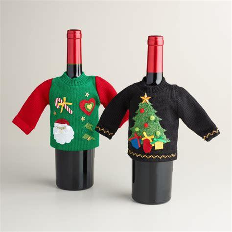 aytai 3pcs ugly christmas sweater wine bottle cover handmade wine bottle sweater for christmas decorations ugly christmas sweat sweater wine bottle set of 2 world market