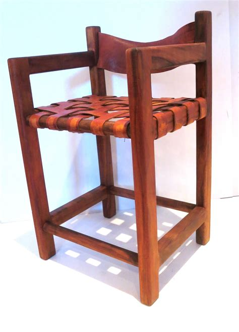 mexican bar stools leather 1960s pair of tall leather strap arm bar stools mexican moderrn image 2