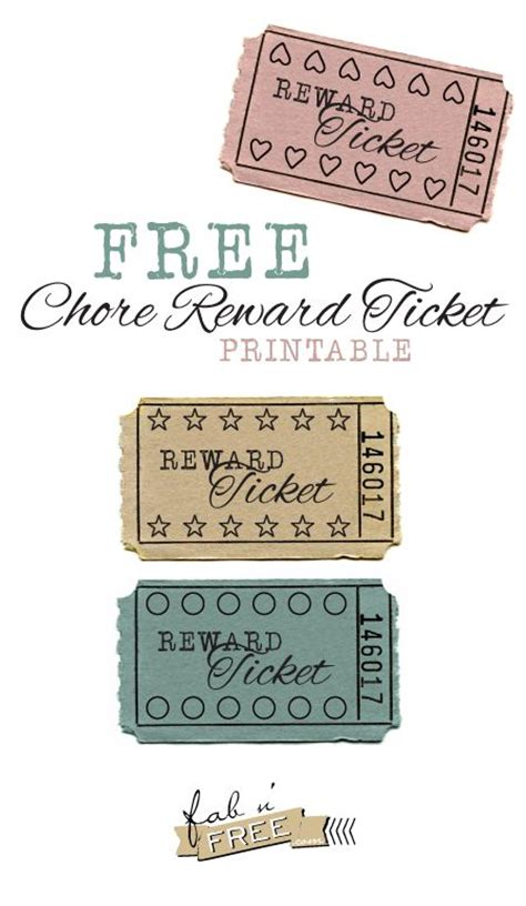 printable incentive tickets free printable chore reward tickets kids pinterest