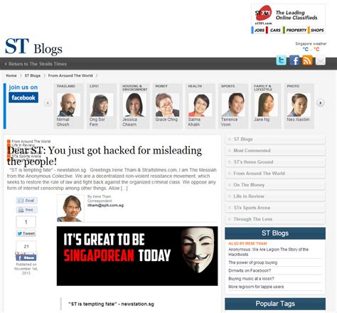 straits times sections singapore news alternative straits times website hacked