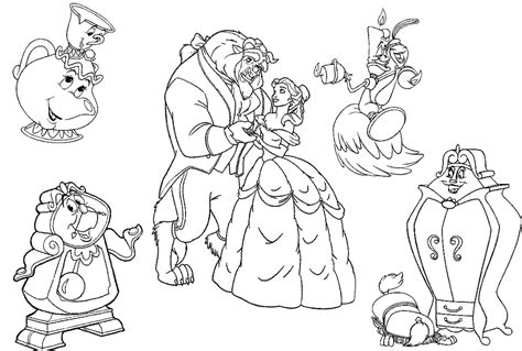 beauty and the beast dancing coloring pages sta disegno di i personaggi de la bella e la bestia da
