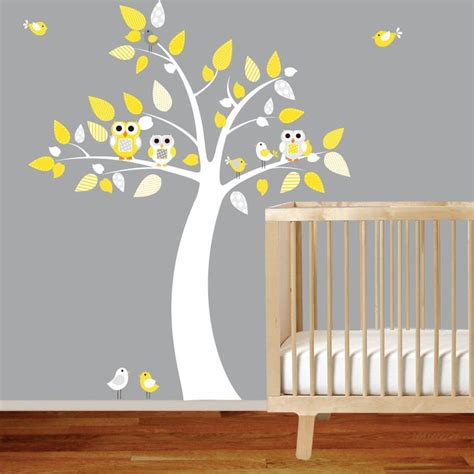 owl wall stickers for nursery nursery tree decal boy vinyl wall stickers owls tree birds yellow